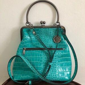 PATRICIA NASH Novella Frame Leather Croc Bag